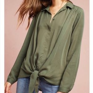 Maeve Tencel Knotted Army Green Blouse